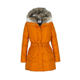 BELTED DOWN PARKA WITH RABBIT FUR HOOD