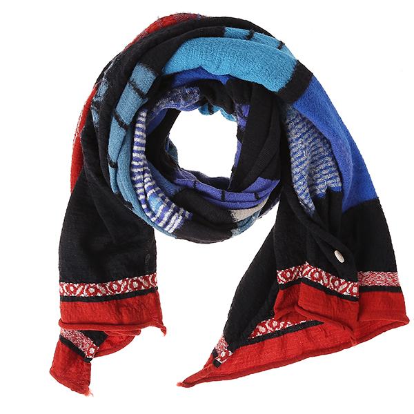 KAPITAL COMPRESSED WOOL SCARF BLUE HANDS