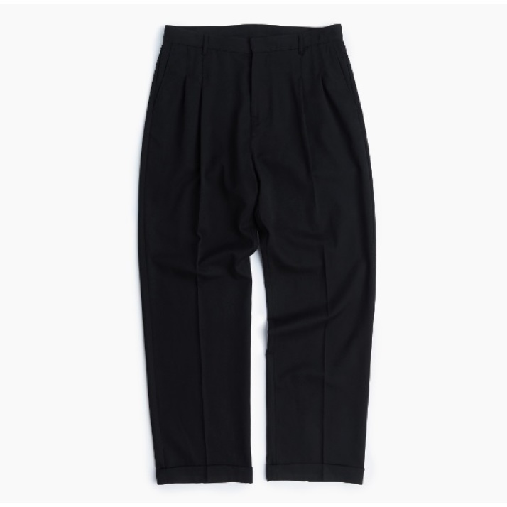 TWO TUCK WIDE PANTS / BLACK