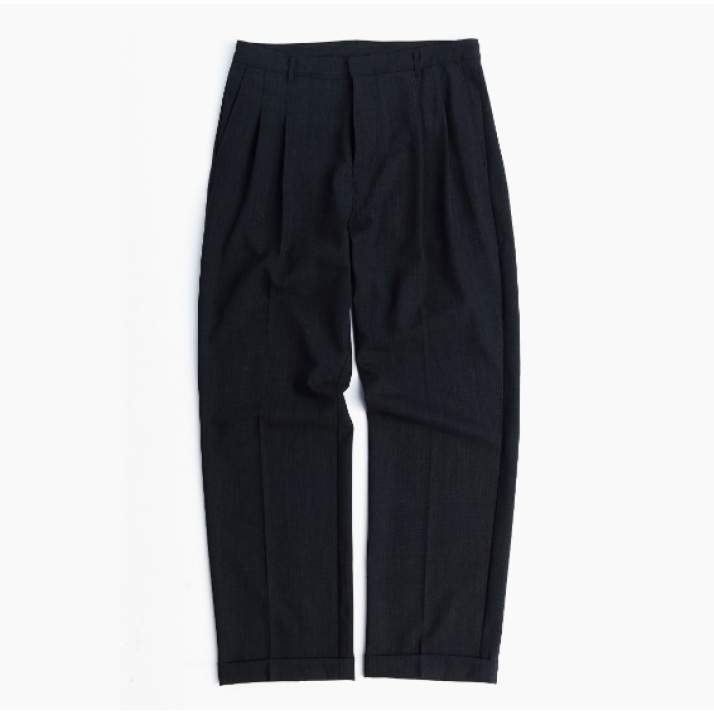 TWO TUCK WIDE PANTS / CHARCOAL