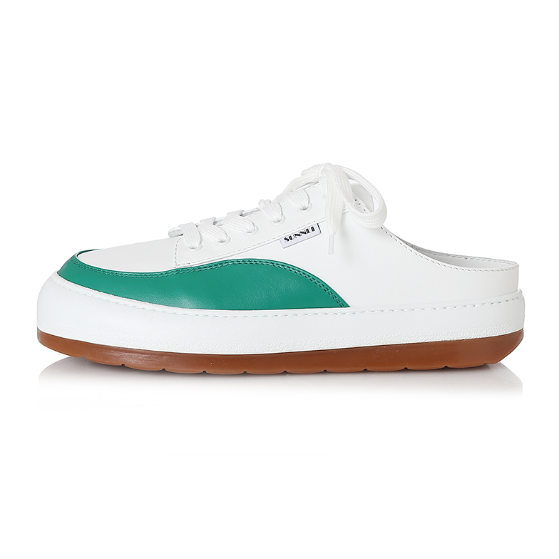 WHITE & GREEN LEATHER DREAMY SABOT U5SNJ5SH001-GN