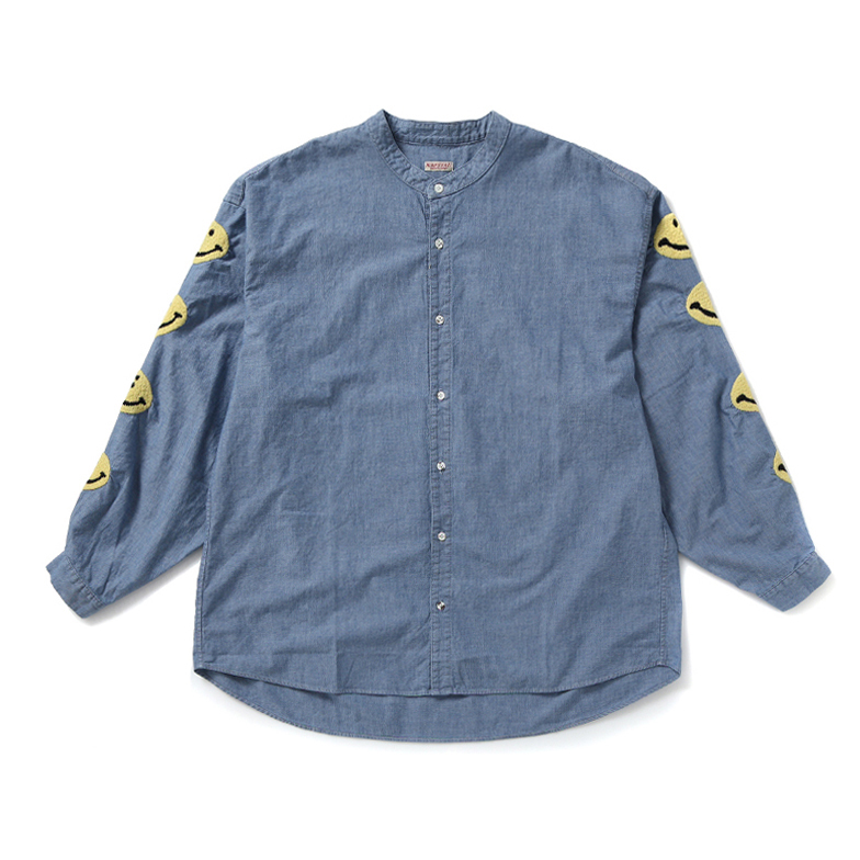 CHAMBRAY BAND COLLAR SHIRT (SMILE EMBTOIDERY) Z4KPJ6ST005-BL