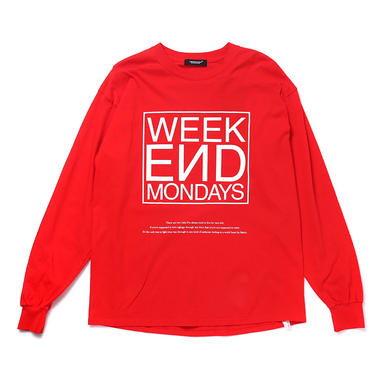 L/S WEEKEND TEE RED U5UCI6TS002-RD