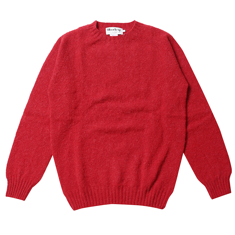 HARLEY OF SCOTLAND SHAGGY CREWNECK JESTER RED X6HSJ6KT001-D/RD