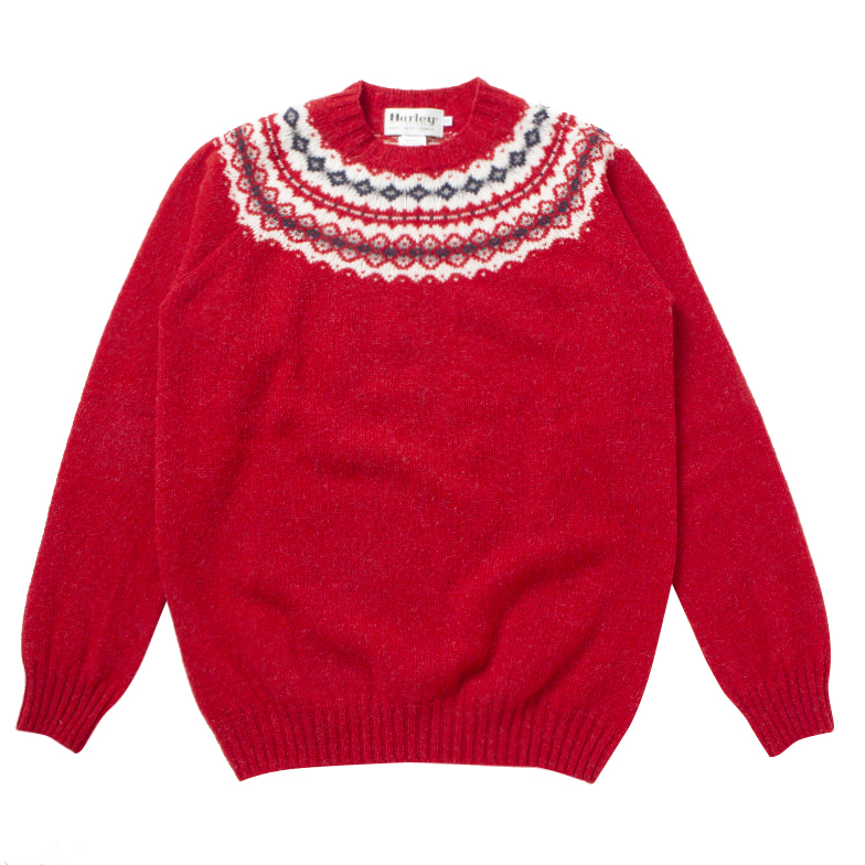 HARLEY OF SCOTLAND SNOWFLAKE CREWNECK JESTER RED X6HSJ6KT002-D/RD