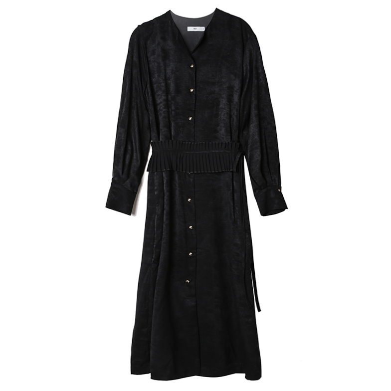 PLEATS BELTED SHIRT DRESS (BLACK)