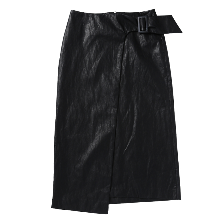 LEATHER MIDI SKIRT (BLACK)