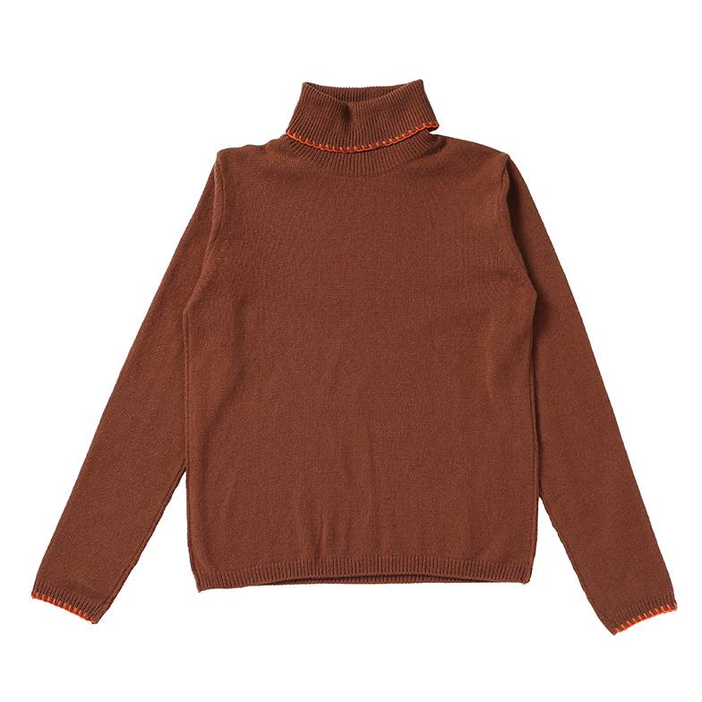 BASIC TURTLE NECK KNIT (BROWN)