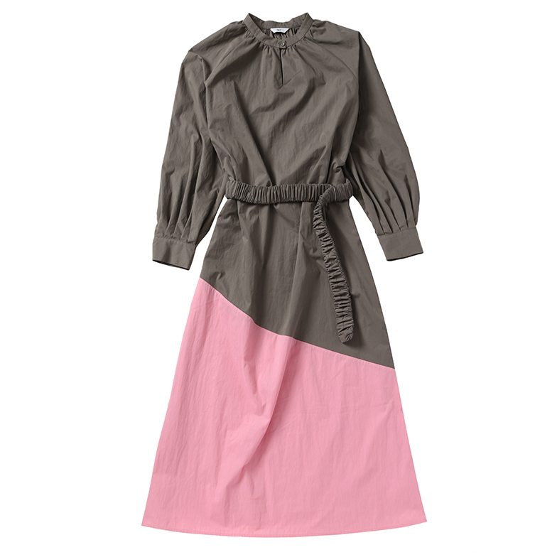NECK SHIRRING COLORBLOCK DRESS (GREY/PINK)