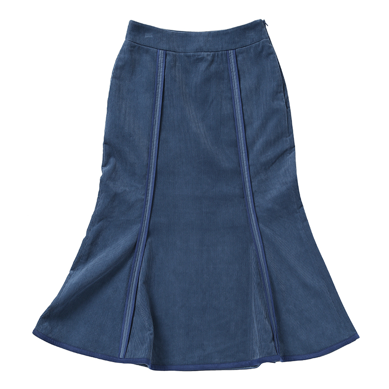 CORDUROY MERMAID SKIRT (BLUE)