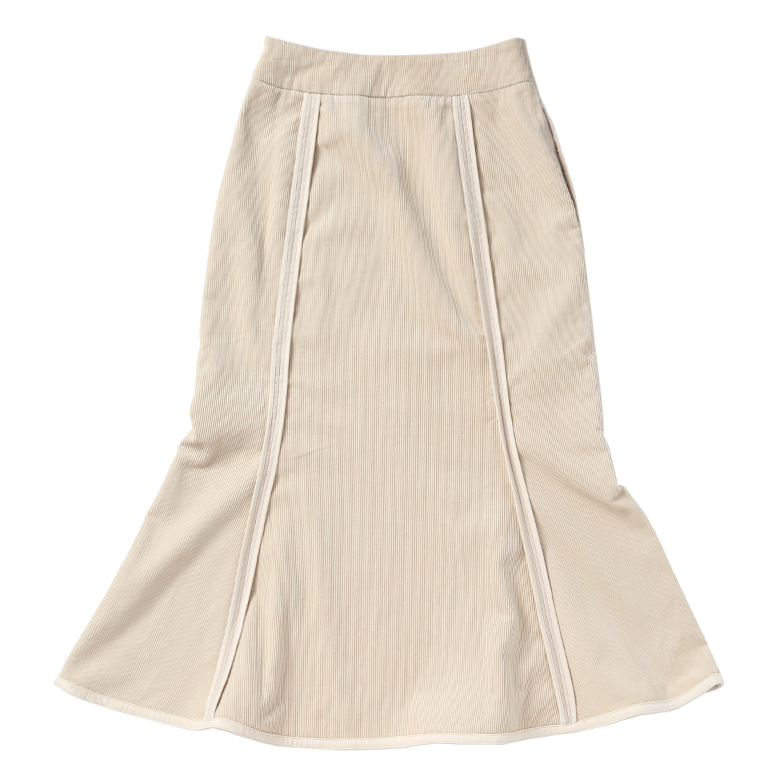 CORDUROT MERMAID SKIRT (IVORY)