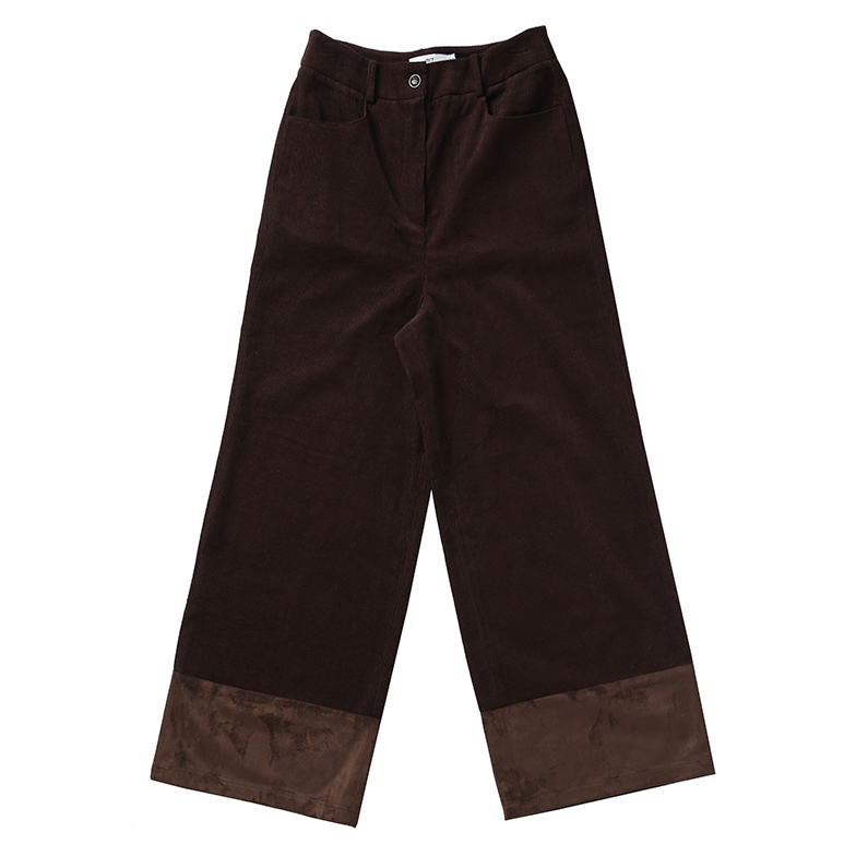BABY CORDUROY WIDE LEG PANTS (BROWN)
