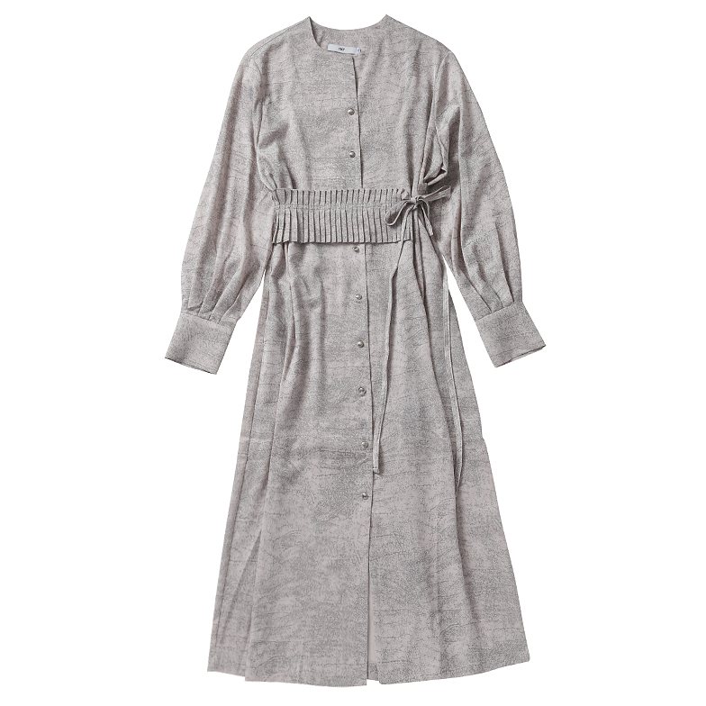 PLEATS BELTED SHIRT DRESS (IVORY)