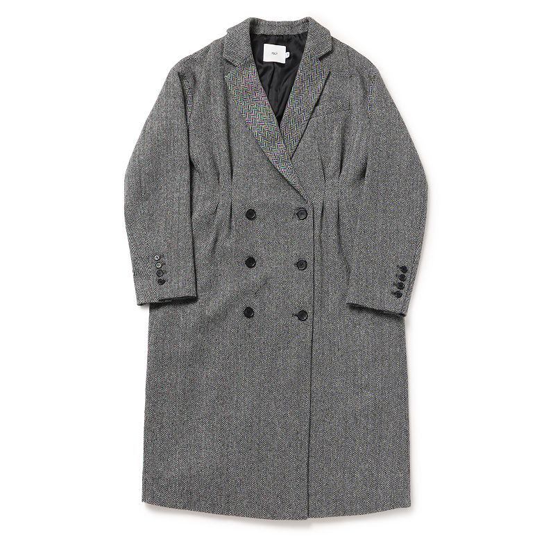 HERRINGBONE BASIC WOOL BLENDED COAT