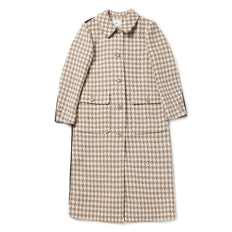 TWEED LEATHER MIXED LONG COAT (BEIGE)