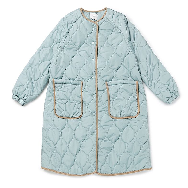 QUILTED LONG PADDED COAT (LIGHT BLUE)