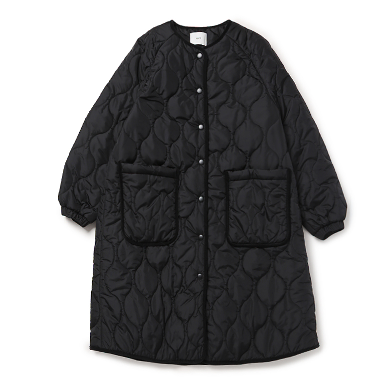 QUILTED LONG PADDED COAT (BLACK)