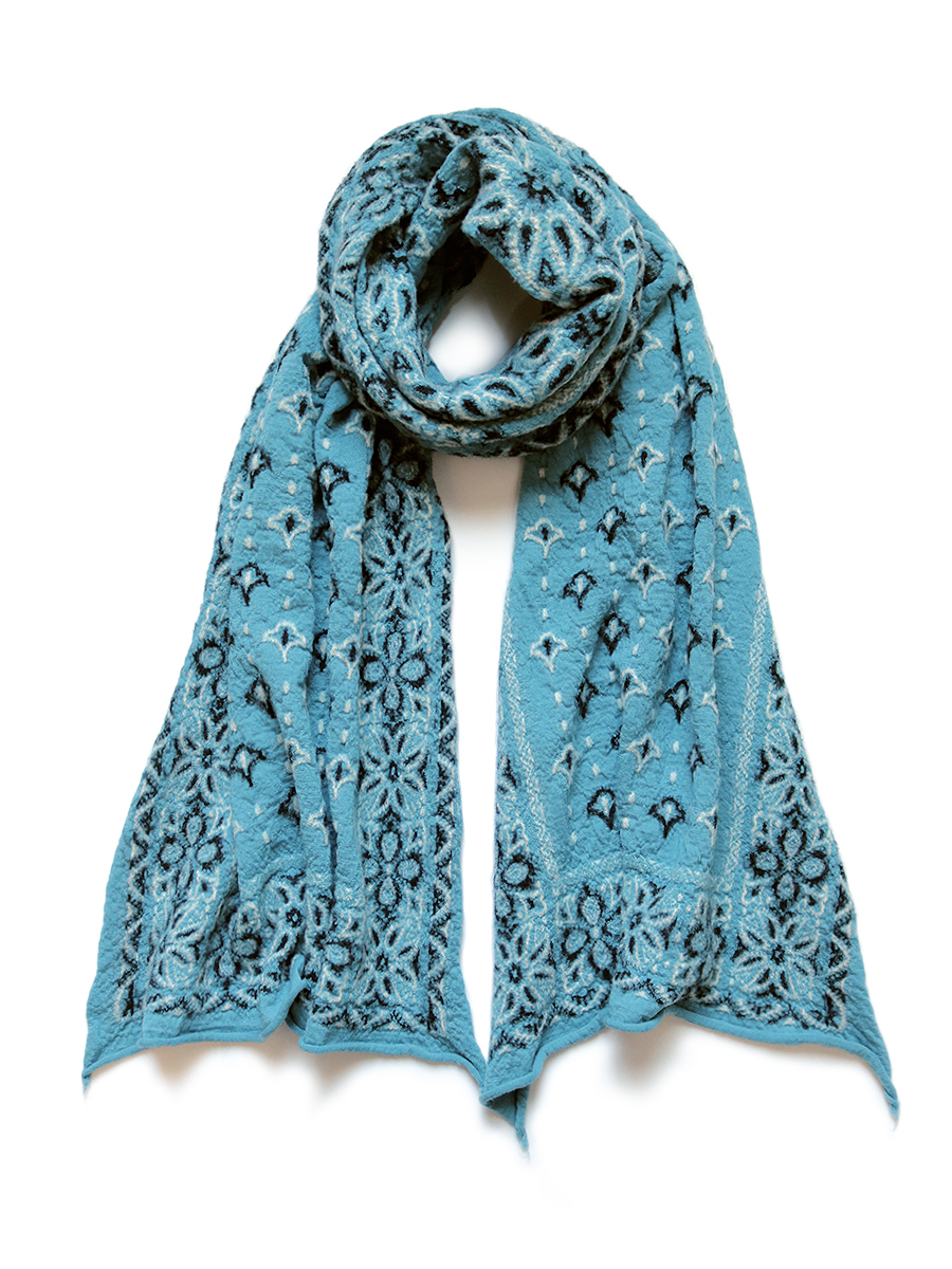 Compressed Wool Scarf Colorful BIG-MAMA BANDANA TURQUOISE Z4KPJ6SF006-GN